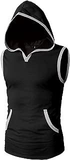 Kaniem Men's Tank Top Hoodie, Slim Fit Sleeveless Hooded Breathable Vest with Pocket Tees