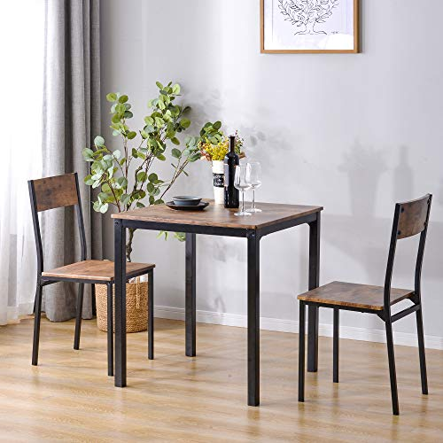 Mingfuxin Dining Table and 2 Chairs Sets, Wooden Steel Frame Industrial Style Retro Kitchen Dinner Table Chair Set for Home Office Kitchen Dining Room (1 Table + 2 Chairs)