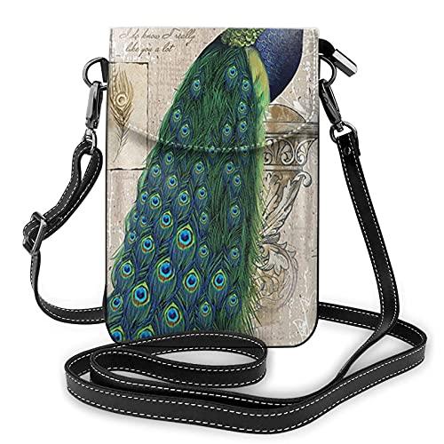 Monedero animal del teléfono del pavo real, monedero del teléfono del cuero de la pu, bolso de hombro de la bolsa para la cartera del tenedor de la tarjeta de las mujeres