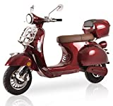 "Elektroroller""Classico Li"" Elektroroller 45 km/h Lithium Akku E Roller E Scooter mit Straßenzulassung Elektro Roller Scooter kaufen, Bordeaux Rot"