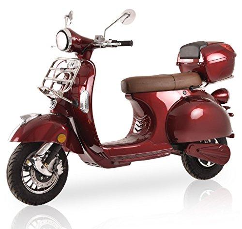 Elektroroller Classico Li, 3000 Watt, E-Scooter, Elektro-Roller, E-Roller mit Straßenzulassung, 45 km/h, herausnehmbarer Lithium-Akku, Bordeaux Rot