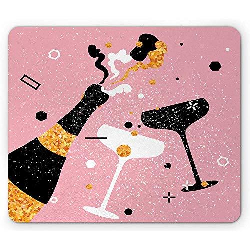 Champagne Mouse Pad, Party Time Cheers Vintage Fles met Klinken Bril Viering, Mousepad, Bleke Roze Goudsbloem Zwart