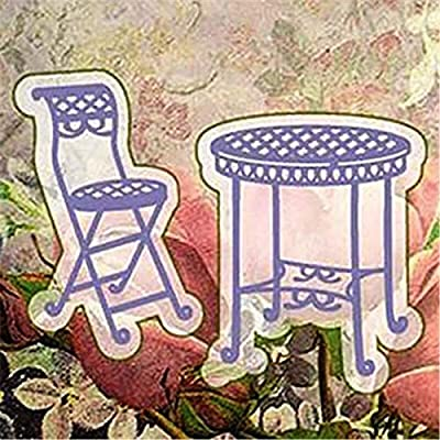 2Pcs Cutting Dies,Letmefun Metal Cutting Dies Stencils Scrapbooking for Card Making DIY Embossing Diecuts New Craft Table and Chair Dies 2019