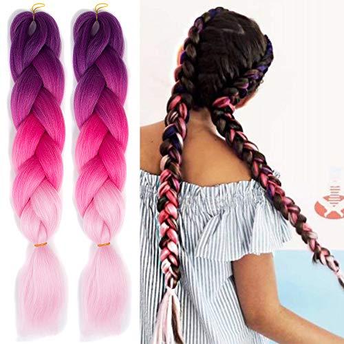 Ombre Jumbo Zöpfe Haar Flechten Haar Kanekalon, ShowJarlly Synthetische Haarverlängerungen 24 inch (60 cm) 300g / 3Pcs, (C25#Purple/Peach/Light Pink)