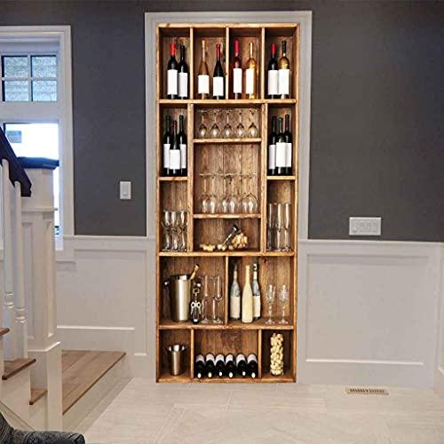 UIMXYZD Mural de la puerta 3D Desprendibles Vitrina de vino de moda DIY De La DecoracióN Del Hogar De La Etiqueta Engomada De Las Pared Del niño y niña Habitación Vinilo Pegatinas 88x200cm