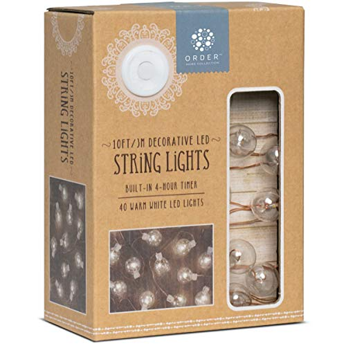 ORDER HOME COLLECTION LED Glass Ball String Lights with Automatic Daily Timer, 10ft./3m w/ 40 Warm White LEDs, Battery Powered, Best Home DÈcor, Arts and Crafts Projects, Soft Accent Lighting (Copper)
