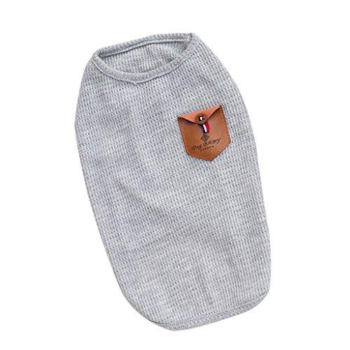 Baumwolle Hundebekleidung Hunde T-Shirt Weste Sommer Kleider Kleidung, blau/grau - Grau S