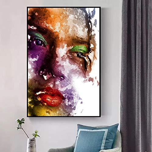 Frameloze schilderij Modern olieverfschilderij op doek kunst aan de muur vrouw make-up schilderij ZGQ2057 60X90cm