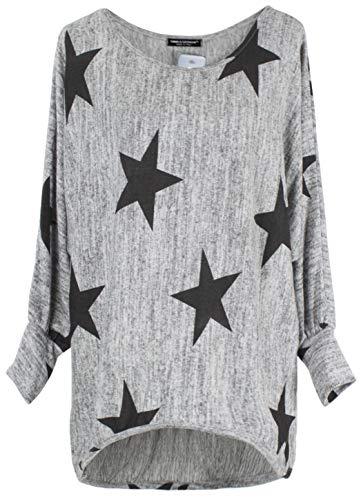 Emma & Giovanni - Langarmshirt Mit Blume - Pullover- Asymmetrisch Top - Damen (DE 44/46 (Etikett XL), Grau)
