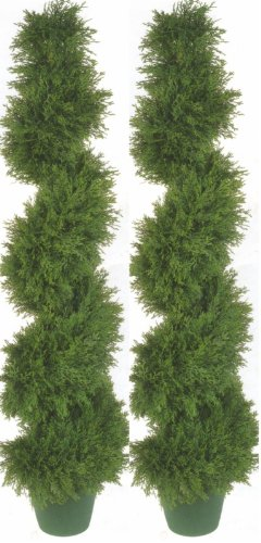 Two 4 Foot 3 Inch Artificial Cypress Spiral Topiary Trees Potted Indoor or Outdoor Cedar UV Rated Evergreen