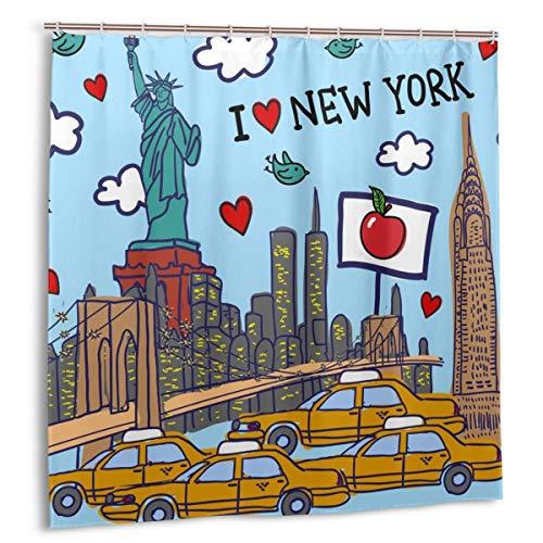 Wdoci Duschvorhang,New Yorker Muster,Wasserdicht Bad Vorhang mit Haken 150cmx180cm