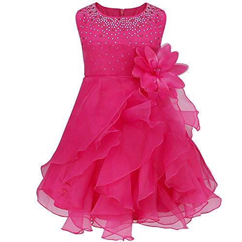 YiZYiF Babykleidung Kinder Mädchen Kleid Taufkleid festlich Prinzessin Kleid Partykleid Hochzeit Party Festzug Gr. 68 74 80 86 92 98 (86-92, Rose)