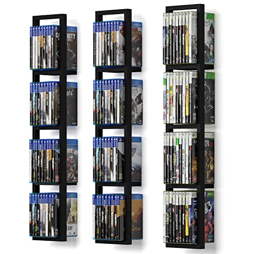 You Have Space Black Floating Shelves for Wall, 34 Inch Video Games CD DVD Storage Shelves, Cube Storage Organizer Shelf Set of 3