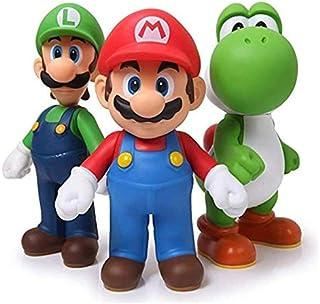 3pcs 13cm Super Mario Bros Luigi Mario Yoshi PVC Action Figures Toys