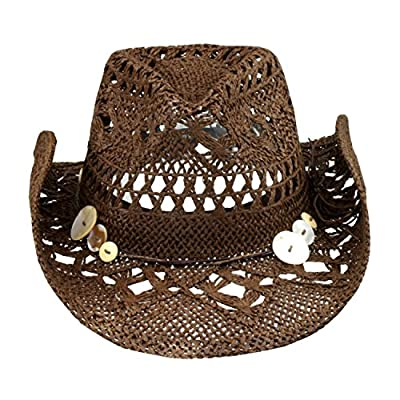 Brown Boho Hip Cowgirl Hat, Lace-Look Straw w/Raffia Band - Shapeable Brim