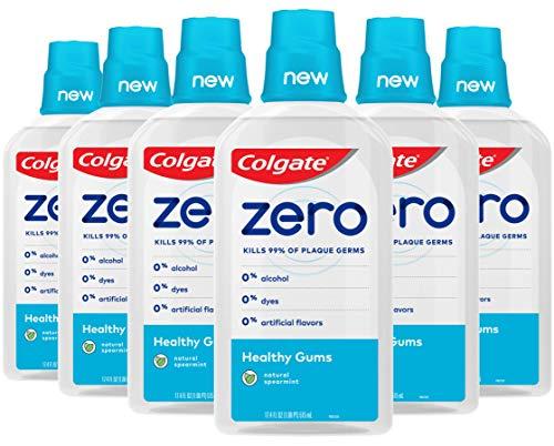 Colgate Zero Healthy Gums Mouthwash, Reduces Gingivitis Gum Disease, Natural Spearmint - 515 mL, 17.4 fluid ounce (6 Pack)