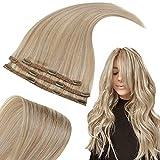 RUNATURE Clip in Extensions Echthaar 35cm 14 Zoll Farbe 12P60 Dunkelblond Gemischt mit Platinblond Haarverlängerung 50g 3 Stück Haare Extension