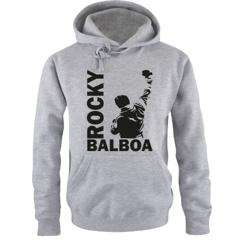 Comedy Shirts Sweat Shirt pour Hommes - Sweat à Capuche Rocky Balboa III - Sweat Italian Stallion Boxeur - Gris-Noir - Medium