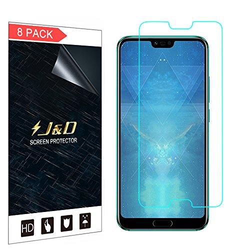 J&D Compatibile per 8 Confezioni Huawei Honor 10 Pellicola Protettiva, [Non Piena Copertura] Premium Trasparente Protezione Schermo per Huawei Honor 10 - [Non per Honor 10 Lite / Honor View 10]