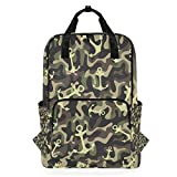 Hunihuni Marine Camouflage Militär Anker Multifunktional Casual Schule Büchertasche Wandern Reisen Daypack Schultertasche