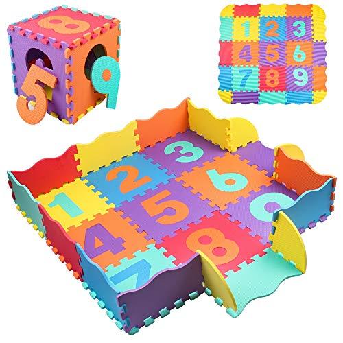 StillCool Alfombra Puzzle para Niños 25 Pcs Alfombrilla de Juguete de Espuma sólida para Rompecabezas de números, Grueso (0.47 Pulgadas) para Decoración de la habitación de los niños(Color Aleatorio)