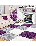 Carpet 1001 Alfombra de pelo largo Shaggy para salón, en más colores, tamaños con certificado Oeko Tex, lila, 80 x 250 cm
