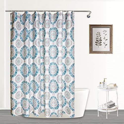 Mejoroom Moderner Luxus-Duschvorhang mit Waffelmuster für Badezimmer – Stoff-Duschvorhang mit 12 Haken, maschinenwaschbar – Standard 183 x 183 cm, r&e Blume