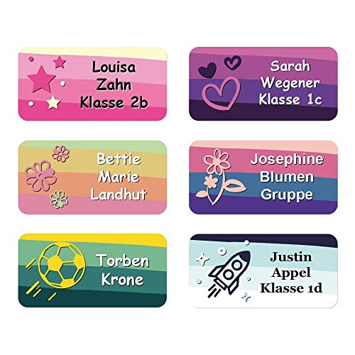 foliado® Namensaufkleber Kinder bis zu 3-zeilig Etikett 30x15mm Sticker Namensetikett Schule Kita Kleidung personalisierte Klebeetiketten wasserfest (60 Stück) APD-012