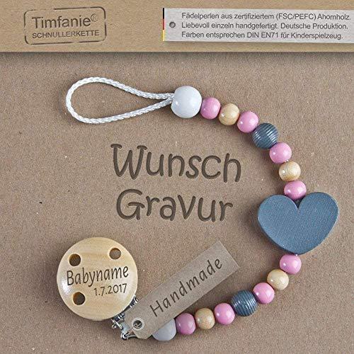 Handmade Schnullerkette mit Namen | für Mädchen | Timfanie® graphit-rosa