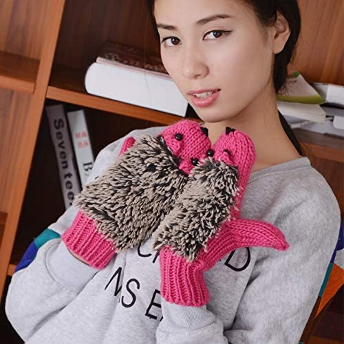Lupovin-Keep Warm Winter Lovely Cartoon Mouse Knitting Lady Mittens Quick Cartoon Hedgepig Total Finger Gloves Non-Slip (Color : Magenta)