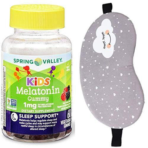 Kids Sleep AID Bundle - MELATONIN 1mg, 60ct Chewable Gummies, Mixed Berries by Spring Valley + Sleep Eye Mask SV