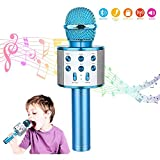 Microfono Karaoke Bluetooth con Altoparlante,Microfono Bluetooth,Microfoni Wireless Disco,Microfono Bambini Senza Fili Adulti, Portatile KTV Karaoke Player per Cantare per Android iOS Smartphone (Blu)