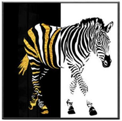 Imprimir En Lienzo 60x90cm Sin Marco Imágenes de animales con estampado de moda de cebra negra y dorada para la decoración del hogar de la sala de estar