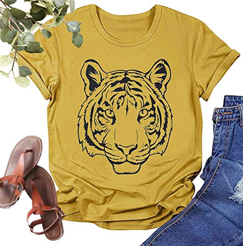 Women's Animal T-Shirt Cute Farm Graphic Tees Casual Short Sleeve Shirts (Yellow-Tiger, X-Large)
