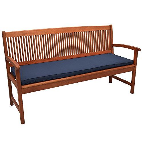 Beautissu Cojines para Bancos de jardín Loft BK colchoneta Asiento Bancos - Azul Marino - 120x48x5cm - Acolchados Elegantes