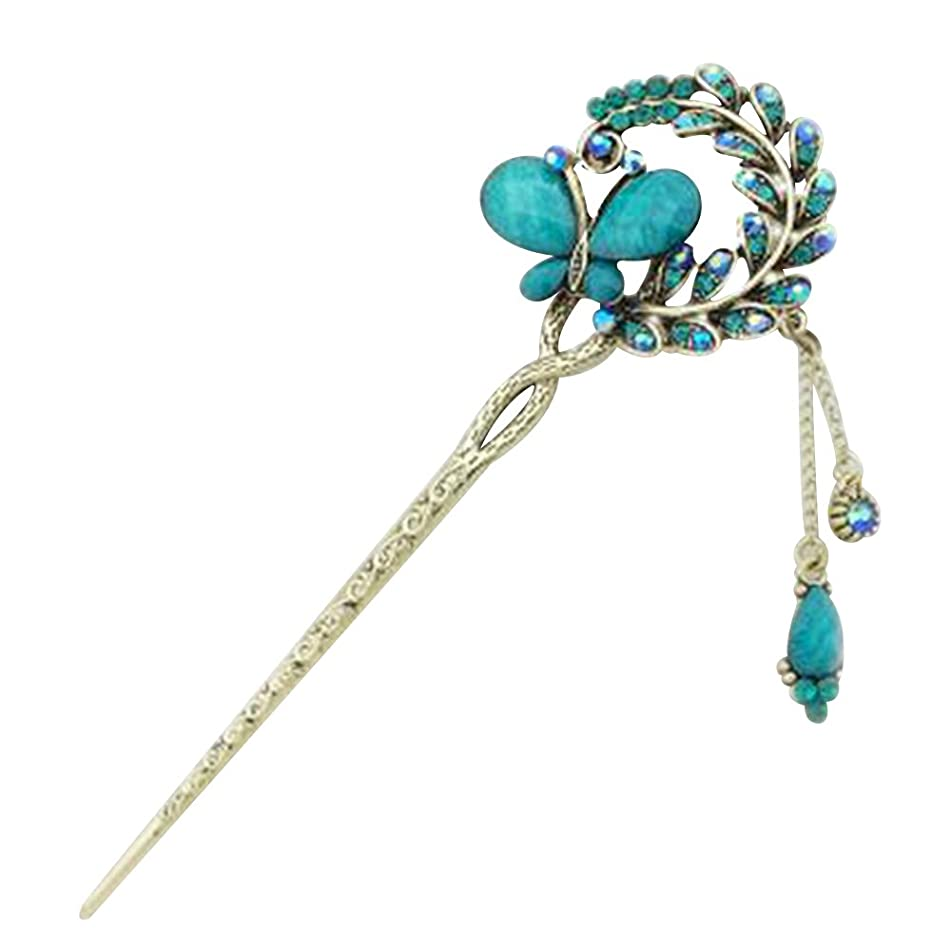 Happy Hours - Retro Elegant Butterfly Flowers Rhinestone Hairpin / Vintage Alloy Tassels Hair Pin Stick for Women and Girls(Blue)