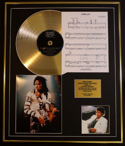 MICHAEL JACKSON/CD GOLD DISC UND PHOTO UND SONG SHEET DISPLAY/LIMITIERTE AUFLAGE/COA/ALBUM, THRILLER /SONG SHEET, THRILLER