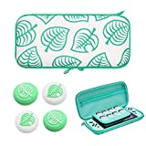Carrying Case for Switch Lite, New Leaf Crossing Hard Shell Protector for NS Console and Accessories, Portable Carrying Storage Bag with 8 Game Card Slots & Replaceable Grips for Switch Lite Game Fans