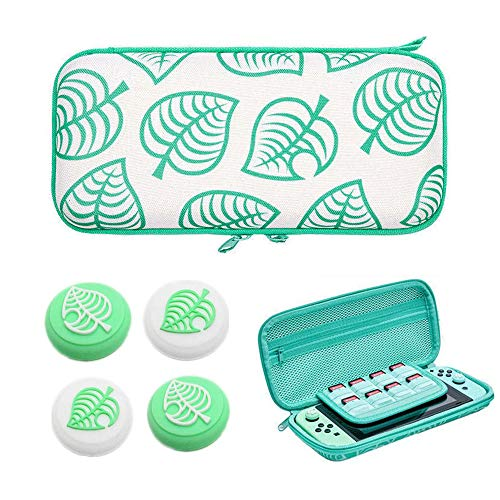 Carrying Case for Nintendo Switch, New Leaf Hard Shell Protector for Animal Crossing NS Console and Accessories, Portable Storage Bag with 8 Game Card Slots & Replaceable Grips for Switch