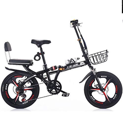 20 Pulgadas Bicicletas Plegables Adulto con Doble Frenos De Disco Mini Ligero Bicicleta Plegable, Alto Carbón Acero Plegable Cuadro para Estudiante Oficina Trabajador Moma Bikes,Negro