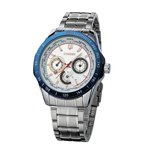 Mens Curren Relojes de Lujo de Marca Superior Reloj de Cuarzo de Acero ejército Militar Deporte Impermeable Reloj Azul