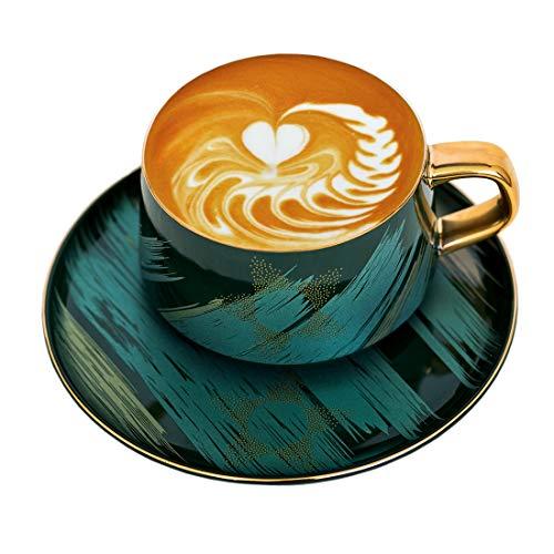 [LITHE] Cappuccino-Tassen, moderner Stil, goldenes Mosaik-Kaffeetasse und Untertasse, Set für Nachmittagstee, Kaffeetasse, 227 ml, Geschenkboxen für Geschenke