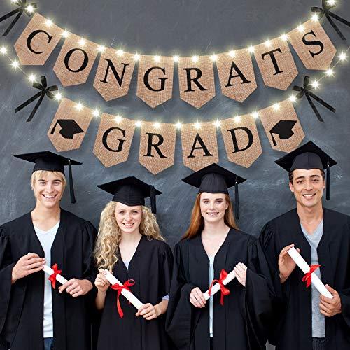 Congrats Grad Banner Abschluss Sackleinen Banner mit 8 Modi LED Lichterketten, Beleuchtung 2021 Grad Party Mantel Kamin Wandbehang Girlande Ammer Flaggen Zeichen für Grad Party Dekor
