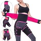 M MUNCASO High Waist Trainer 3-in-1 Thigh Trimmer Waist Cincher Fitness Weight Butt Lifter Slimming Belt Hip Enhancer Body Shaper Band for Women Exercise Workout Fitness Support (Rose red, S/M)