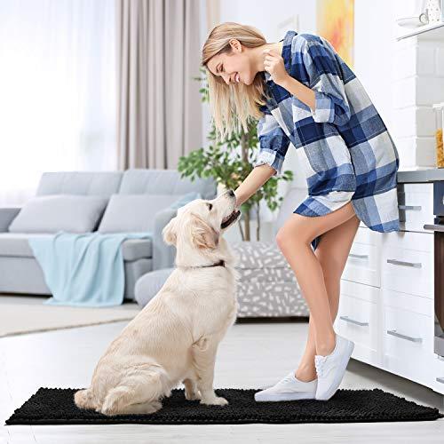 Pretigo Kitchen Rug Sets - Rugs for Kitchen Floor Washable,Non-Slip Soft Kitchen Mat Set,Chenille Microfiber Material, Super Absorbent (Black)