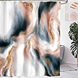 Miyotaa Marble Blue Blush Gold Shower Curtain Set 60Wx71H Inches Abstract Beautiful Artistic Modern Luxury Spiral Polyester Waterproof Cloth Bathroom Curtain with 12 Hooks