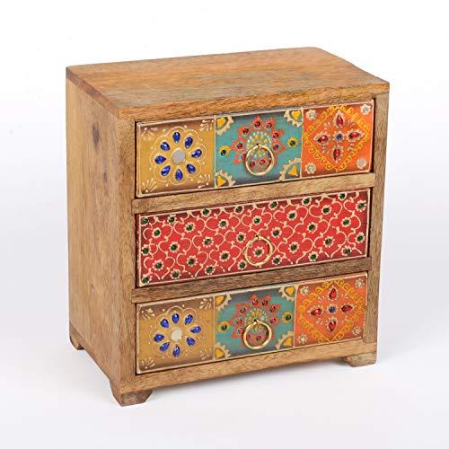 Casa Moro Orientalische Mini-Kommode handbemaltes Holz-Kästchen Lalita mit 3 Schubladen bunt 19x12x21 cm (B/T/H) aus Echtholz | Originelle Geschenk-Idee für die Dame Freundin Muttertag | RK7-10