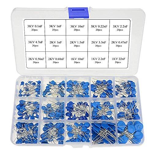 ARCELI Kit di assortimento di condensatori per Dischi ceramici ad Alta Tensione 300pcs 15Values (1KV 2KV e 3KV) (Gamma di condensatori: 0,1nF ~ 22nF)