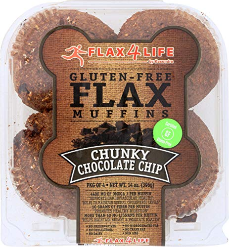 FLAX4LIFE Gluten Free Flax Muffins, Chunky Chocolate Chip, 14 Ounce (Pack of 6)