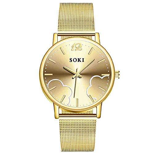 OLUYNG Reloj de Pulsera Relojes para Mujer Reloj de Pulsera de Cuarzo de Malla de Acero Inoxidable Nube Reloj de Regalo para Mujer Marcas Famosas
